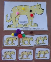 "Circus Theme:  Read ""Put me in the Zoo"" by   Dr. Seuss then do this fun visual discrimination activity using colored pom-poms to duplicate the pattern on each small card.  A, Bee, C, Preschool"