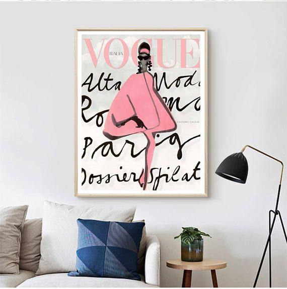 Vogue Print Fashion Wall Art Vogue Cover Vogue Poster Fashion Wall Art Vogue Watercolor Vogue Covers Art