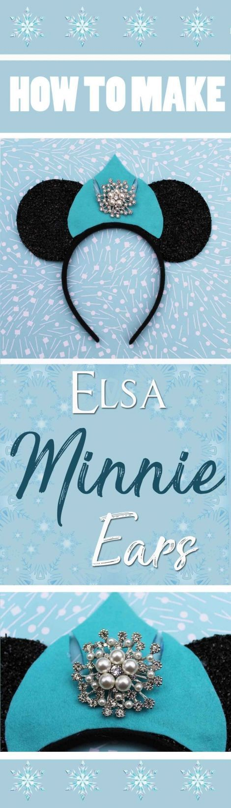 How to make your own custom DIY Frozen inspired Elsa Minnie ears. A step by step guide to crafting your own set of sparkly Queen Elsa crown ears.  Perfect for the Disney parks or for a Queen Elsa costume.    A fab headband for a Frozen inspired cosplay fa