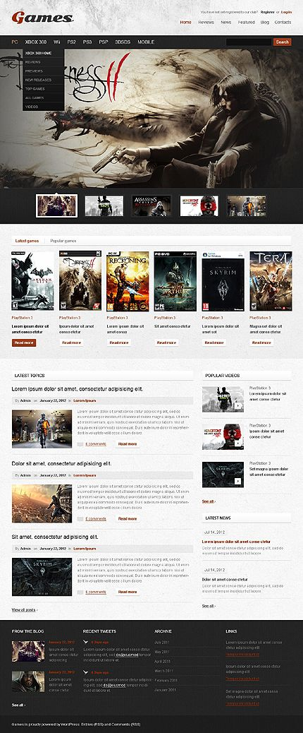 Template 38546 - Gaming Wordpress Theme With Homepage Intro Image Animation & Drop Down Menus
