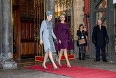 Belgian Royals visit to The Netherlands - 30 Nov 2016  Queen Maxima and Queen Mathilde during Royal Departure by train from Amsterdam Central Station to Utrecht Central Station  30 Nov 2016