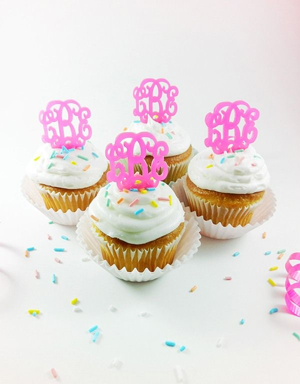 Monogram Cupcake Toppers