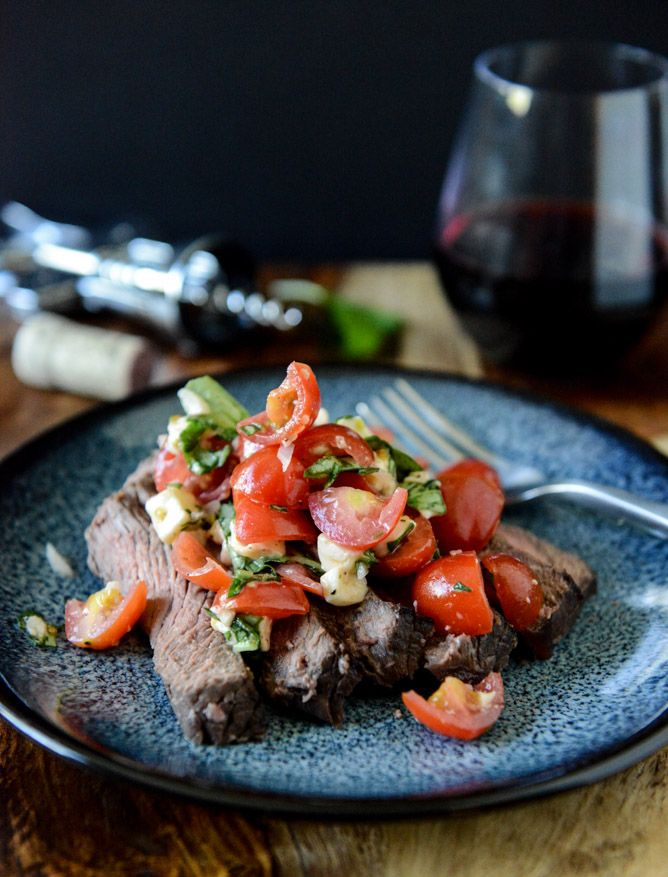 Marinated Flank Steak with Cherry Tomato Caprese Salsa | howsweeteats.com
