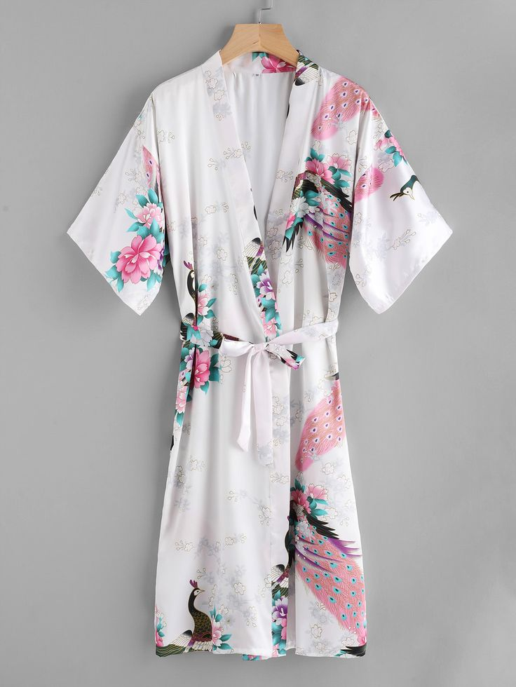 Shop Peacock Print Satin Kimono Robe With Belt online. SheIn offers Peacock Print Satin Kimono Robe With Belt & more to fit your fashionable needs.
