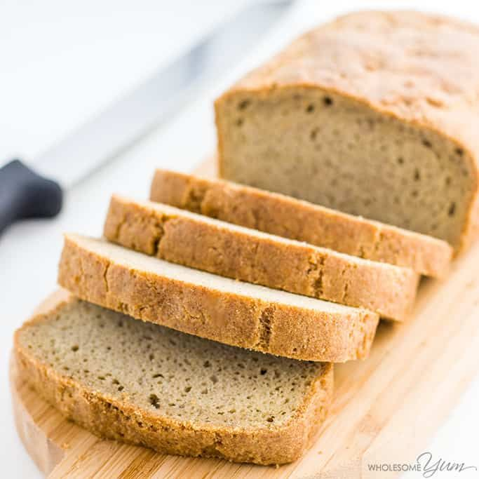 This almond flour bread may be the best low carb bread recipe yet! The texture is just like wheat bread. Gluten-free, paleo, & made with only 5 ingredients.