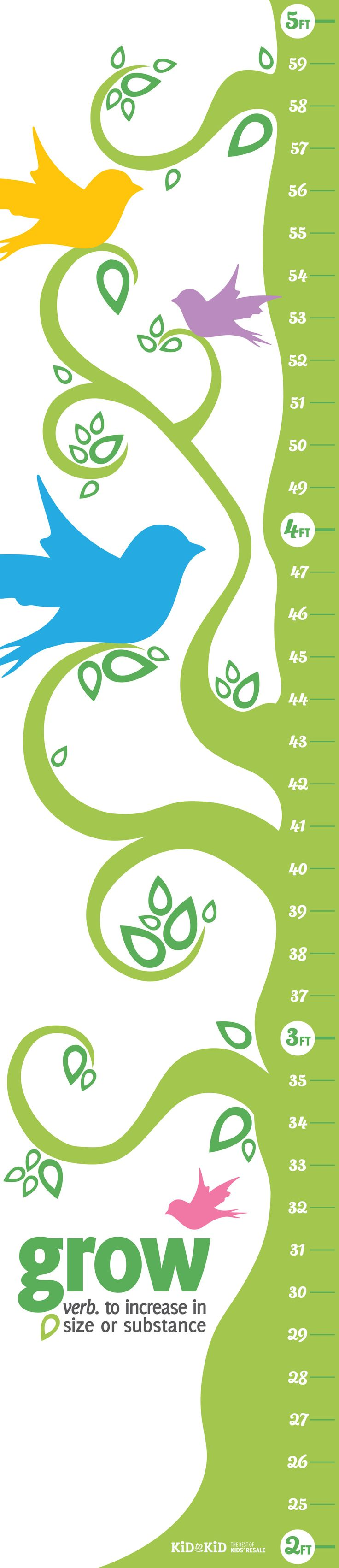Free Printable Growth Chart -can print in sections or take to a pro to have it printed on heavy paper