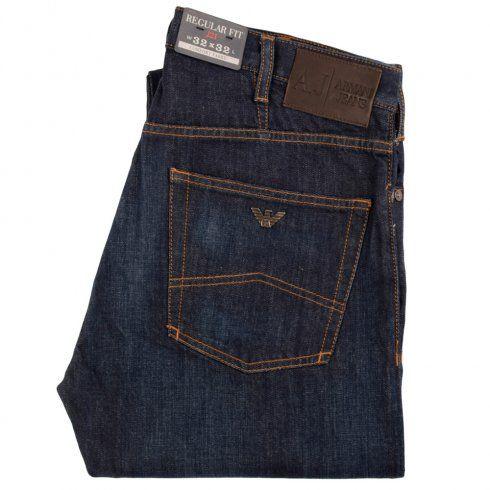 ARMANI JEANS Deep Blue Wash J21 Regular Fit Jeans
