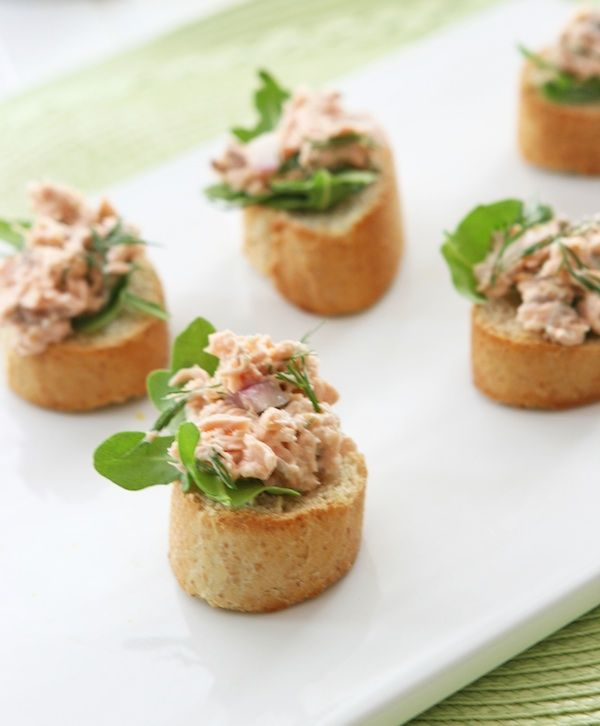 Salmon Salad Crostini #salmon #appetizer