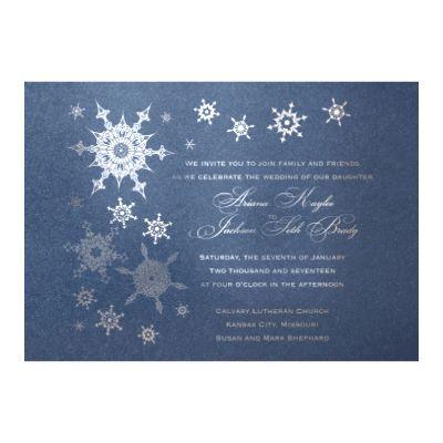 Shimmering Snowfall in Foil Print - Sapphire Shimmer - Invitation - David's Bridal Invitation