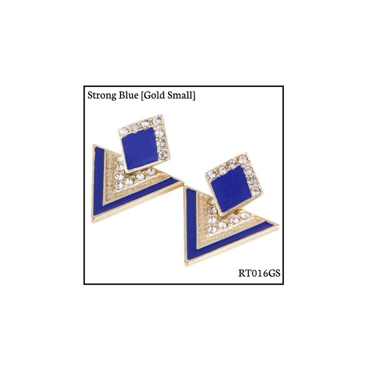 Ref: RT016GS Strong Blue [Gold Small] . Medidas: 2.5 cm x 2 cm . So Oh: 3.99 . Disponível para entrega imediata! Boas compras! #sooh_store #onlinestore #rhombus #trigonal #brincos #earrings #fashion