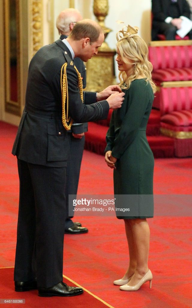 Sophie Bray from Claygate, a member of Britain's Olympic gold medal-winning women's hockey team, is made an MBE (Member of the Order of the British Empire) by the Duke of Cambridge at Buckingham Palace.