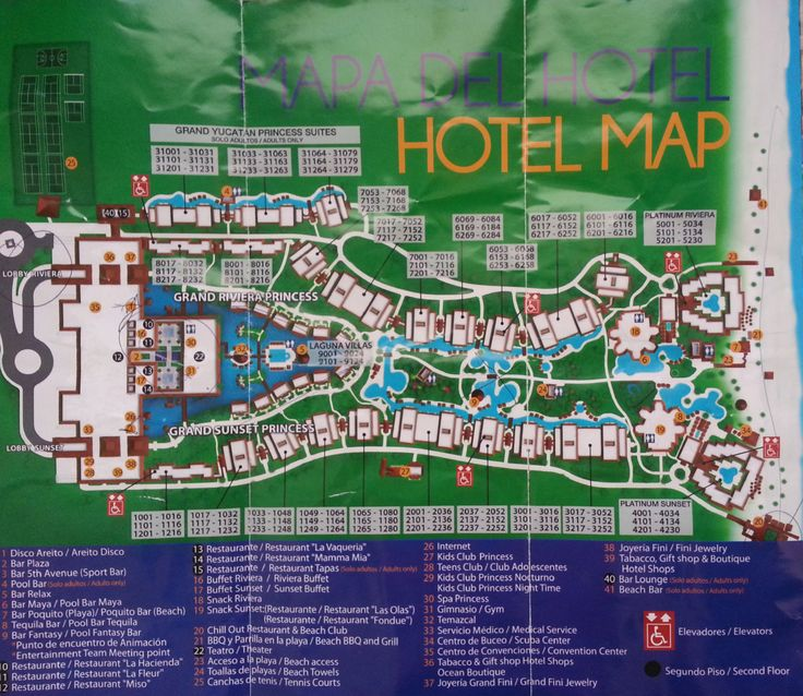 Map of the Grand Riviera Princess and Grand Sunset Princess Resorts, Playa Del Carmen Mexico