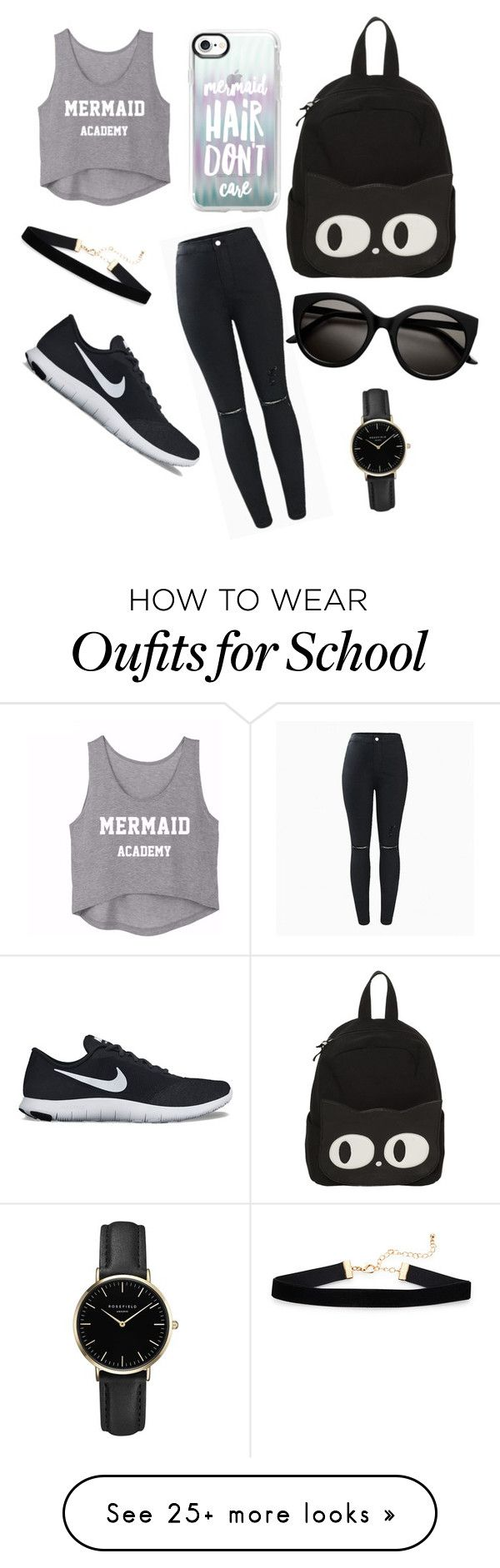 """""""Grey&black"""" by hidayethidou on Polyvore featuring NIKE, Casetify and ROSEFIELD"""