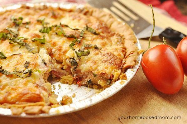 Tomato Basil Tart by yourhomebasedmom {use a gluten free crust}