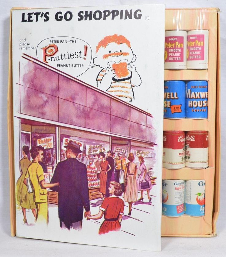 """1960's """"Lets Go Shopping"""" PETER PAN Peanut Butter Ad Tie-In Play Food."""