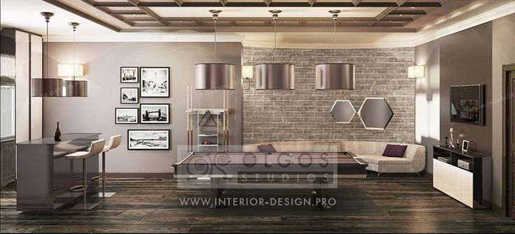 Loft style billiard room design idea  http://interior-design.pro/en/house-interior-design