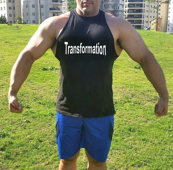 Transformation mens workout tank, muscle tank. Crafted in a unique raw cut armholes, provides a fresh style and a great flattering look for muscle men,