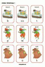 Drietal Sint - te spelen als kwartet met drie kaarten. Woorden: boot - piet - zak - boek - bed - maan - huis - dak - pak - bal - pop - koek