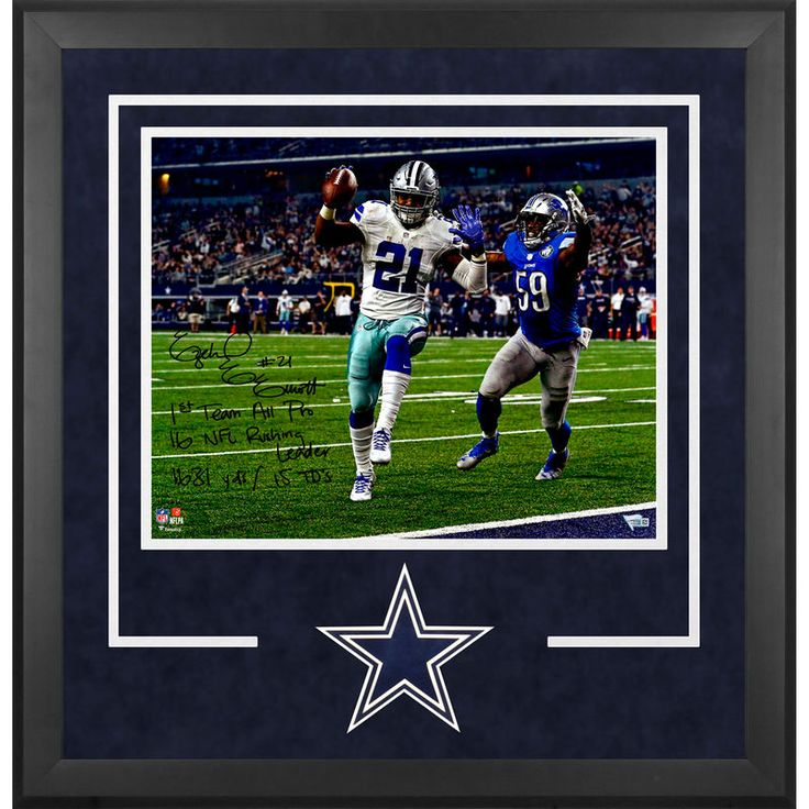 "Ezekiel Elliott Dallas Cowboys Fanatics Authentic Deluxe Framed Autographed 16"" x 20"" Touchdown Photograph with 2016 Season Stats Inscription - Limited Edition of 16"