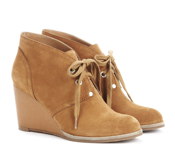 Modern look for a suede boot, love the wedge heel.