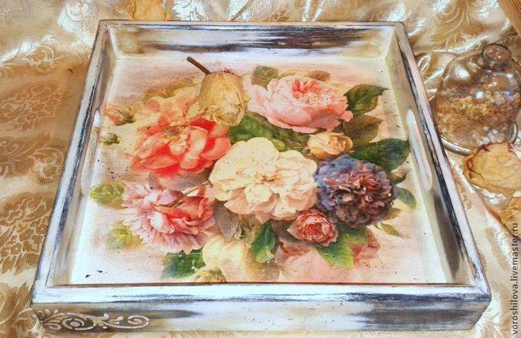 """Декорируем поднос """"Английские розы"""" - Ярмарка Мастеров - ручная работа, handmade"""