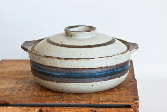 A large stoneware Horizon pattern vintage casserole by Otagiri.