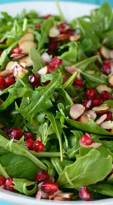 Spinach, Arugula, Almond and Pomegranate Salad - simple thanksgiving salad!