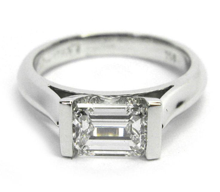 181 horizontal emerald cut bar set ring my style for Emerald cut diamond wedding ring sets