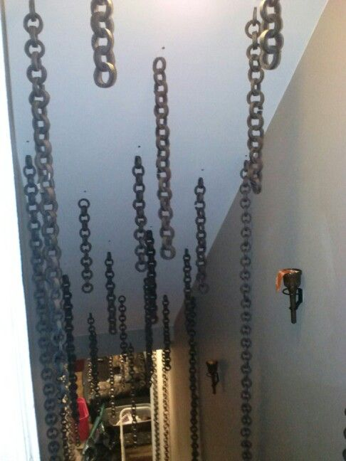 I took the pipe insulation and cut it And made it into a chain pinned into the ceiling Cost $4.00