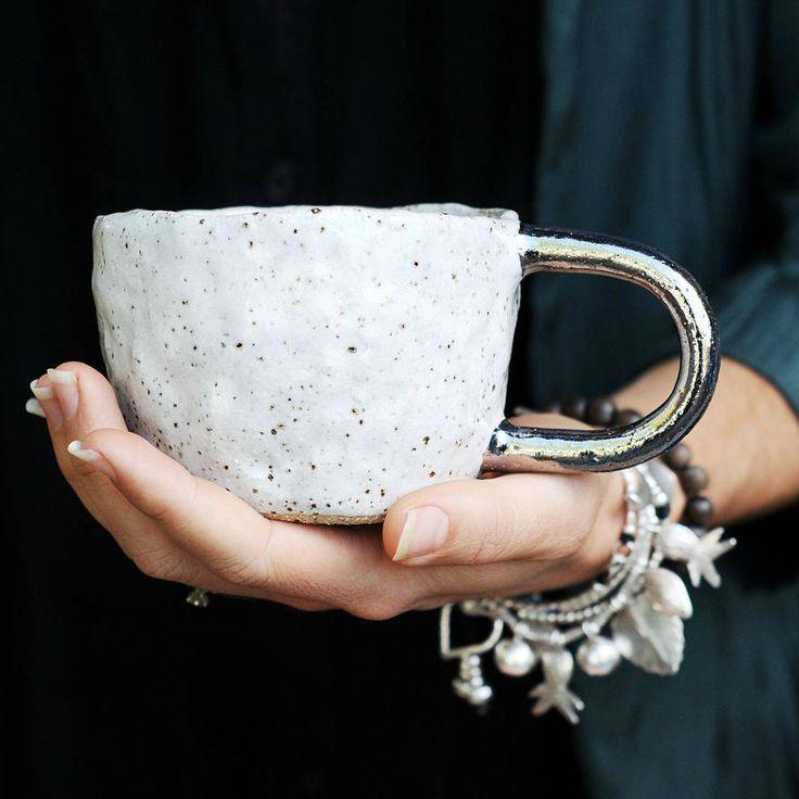Starlight Silver Handled Handmade Mug   Etsy