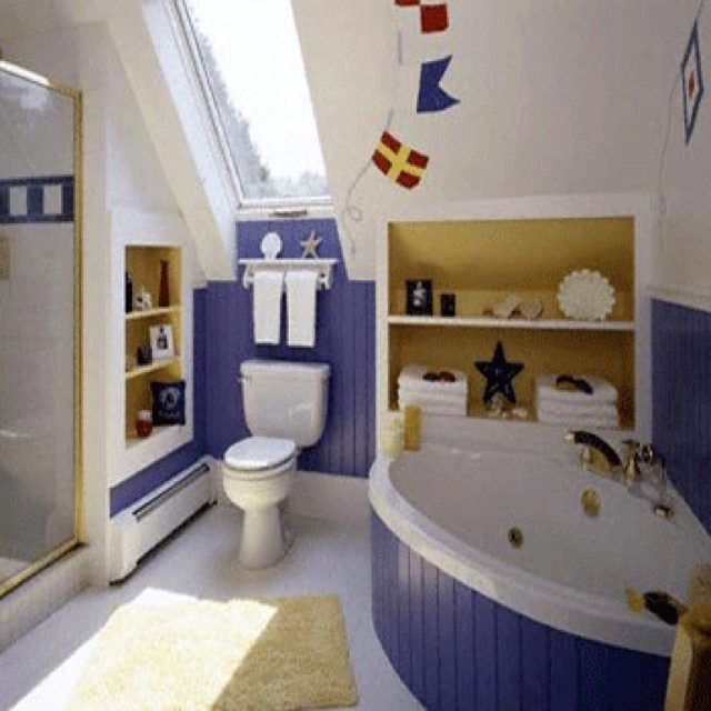 Nautical Bathroom For The Boys Nautical Kids Bathroomsbeach Themed Bathroomsideas