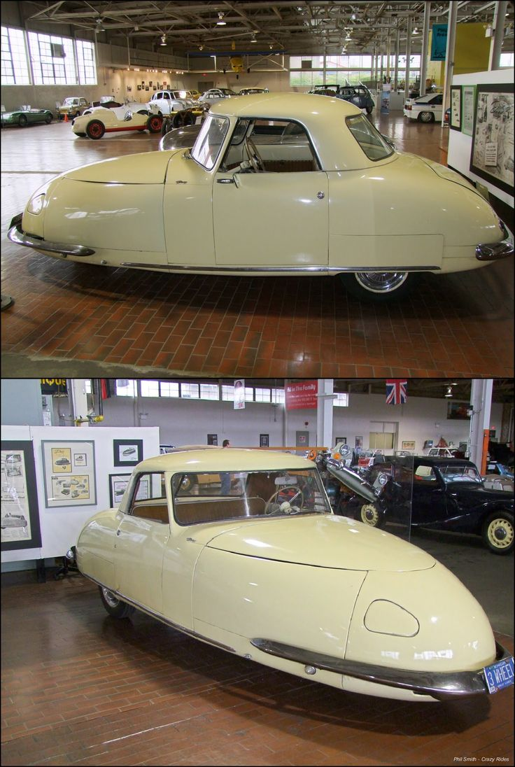 1948 Davis Divan Three Wheeler. The Davis Divan (also dubbed the Californian) was debuted in 1948 and advertised as 'the car of the future'. With a 14 ft. aluminium body and wide enough to seat four side by side (hence the Divan part of the name) it was large by three wheeler standards.  It was powered by a 2,600cc four-cylinder Continental engine, only about 17 were ever built
