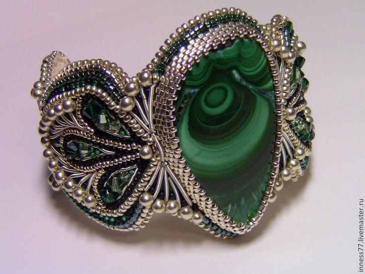 """Браслет с малахитом """"Восточная невеста"""" - серебрянный,зеленый камень,малахит натуральный"""
