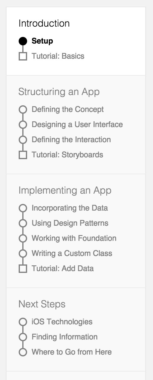 iOS developer documentation navigation