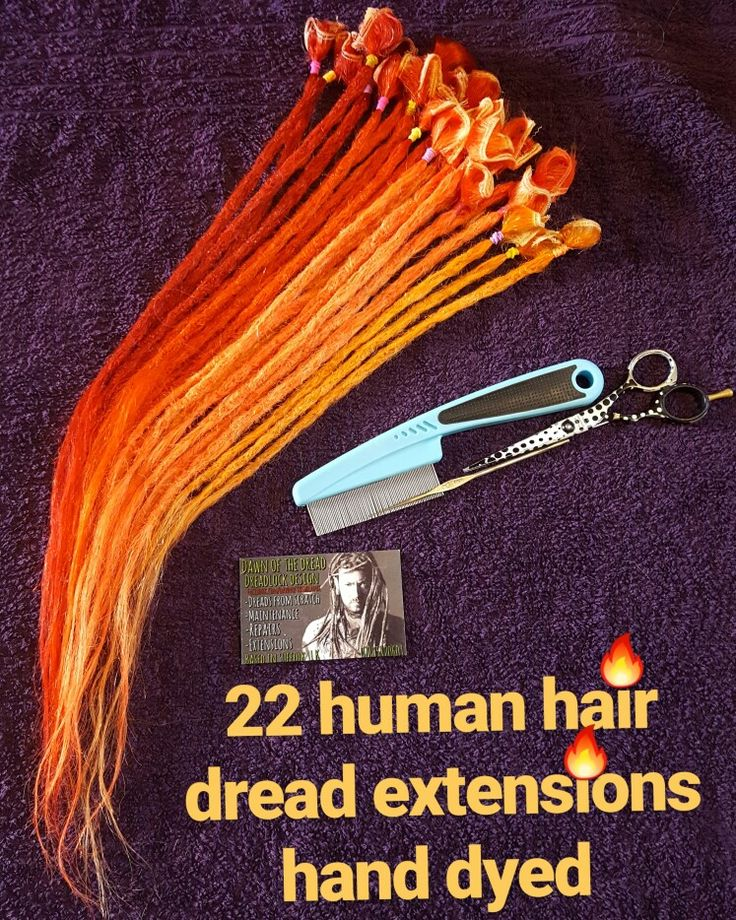 Human hair dread extensions hand dyed and made new me in vermilion red,tangerine,mandarin and apricot directions