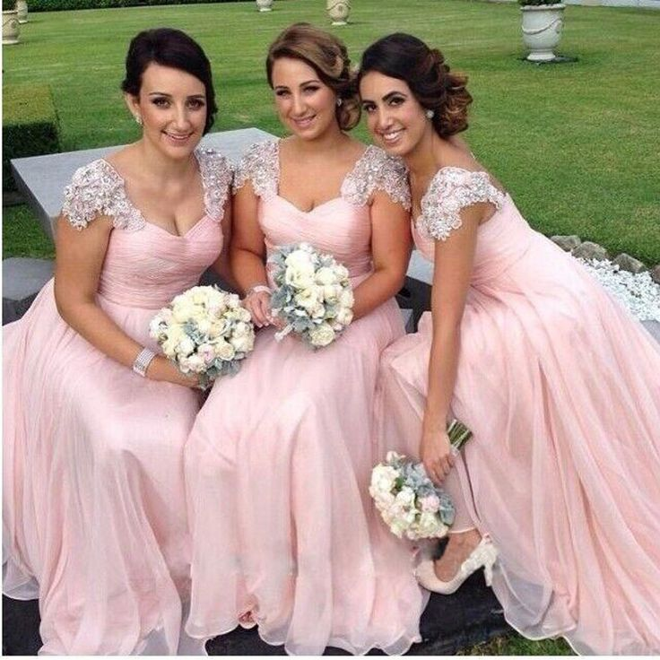 2015 Elegant Cap Sleeve Wedding Party Dresses Light Pink Chiffon with Lace…