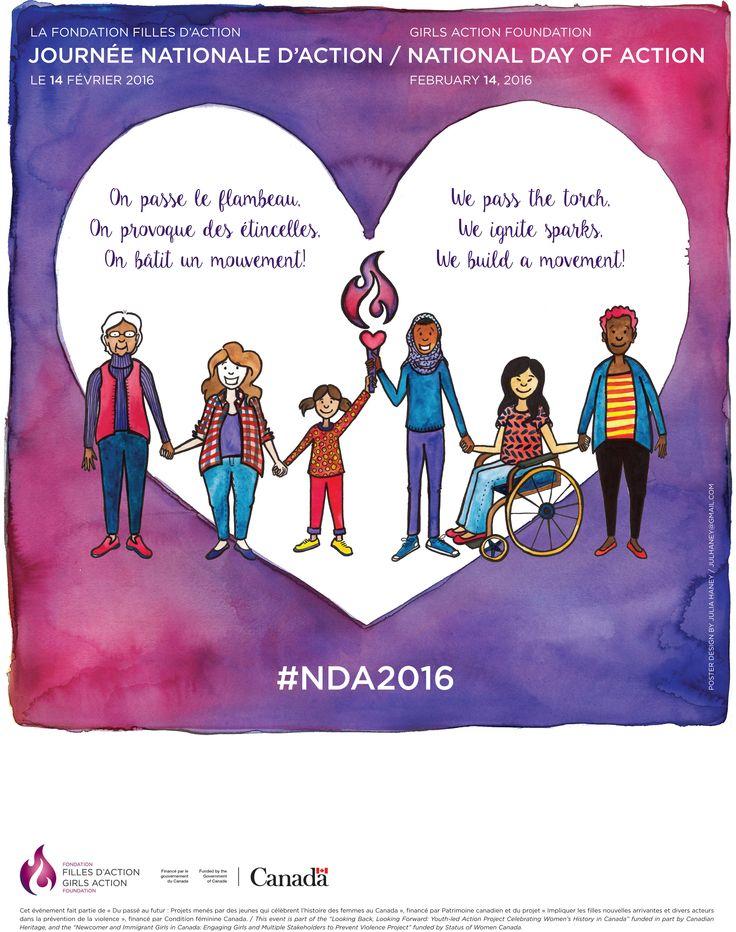 Nous sommes très heureuses de partager avec vous notre affiche de la Journée nationale d'action 2016! Cette année nous voulions attirer votre attention sur l'aspect intergénérationnel de bâtir un mouvement pour le renforcement du pouvoir d'agir des filles et des jeunes femmes, et la solidarité nécessaire à ce type de travail! Découvrez les actions communautaires de 2016 et trouvez une activité près de chez vous! http://bit.ly/jna2016actions #NDA2016