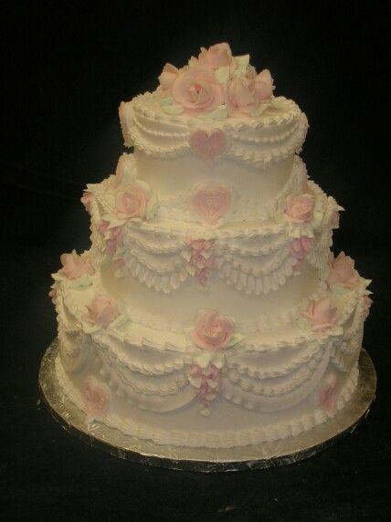 3 tier white pink rose cake