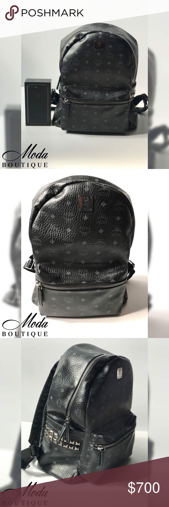"""RESERVED LARGE MCM Stark Studded Backpack Sale pending. Large MCM Stark Side Studded Backpack - Black.   EUC condition Empty weighs 4lbs. Width: 14.5"""" Hieght: 18"""" (top handle) 7"""" depth. (easily fits my 15"""" Macbook Pro).   """"Gleaming pyramid studs, logo-stamped MCM. Padded pocket for 15"""" laptop""""   Two-way zip Top handle; adjustable padded straps 2 slip pockets Interior: smartphone pockets + padded laptop compartment Coated canvas with leather  Moda Boutique SF Wholesale Wholesales…"""