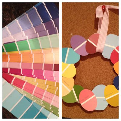 Easter egg wreath made out of paint samples