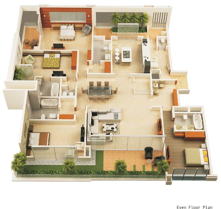 67 best 3D Floor Plans images on Pinterest Architecture - 3d house plans