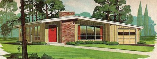 Pin on Mid-Century Architecture  1950s Suburban Homes