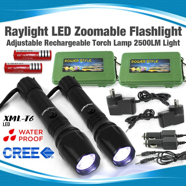 Raylight LED Zoomable Adjustable Rechargeable Flashlight Torch Lamp 2500Lm Light