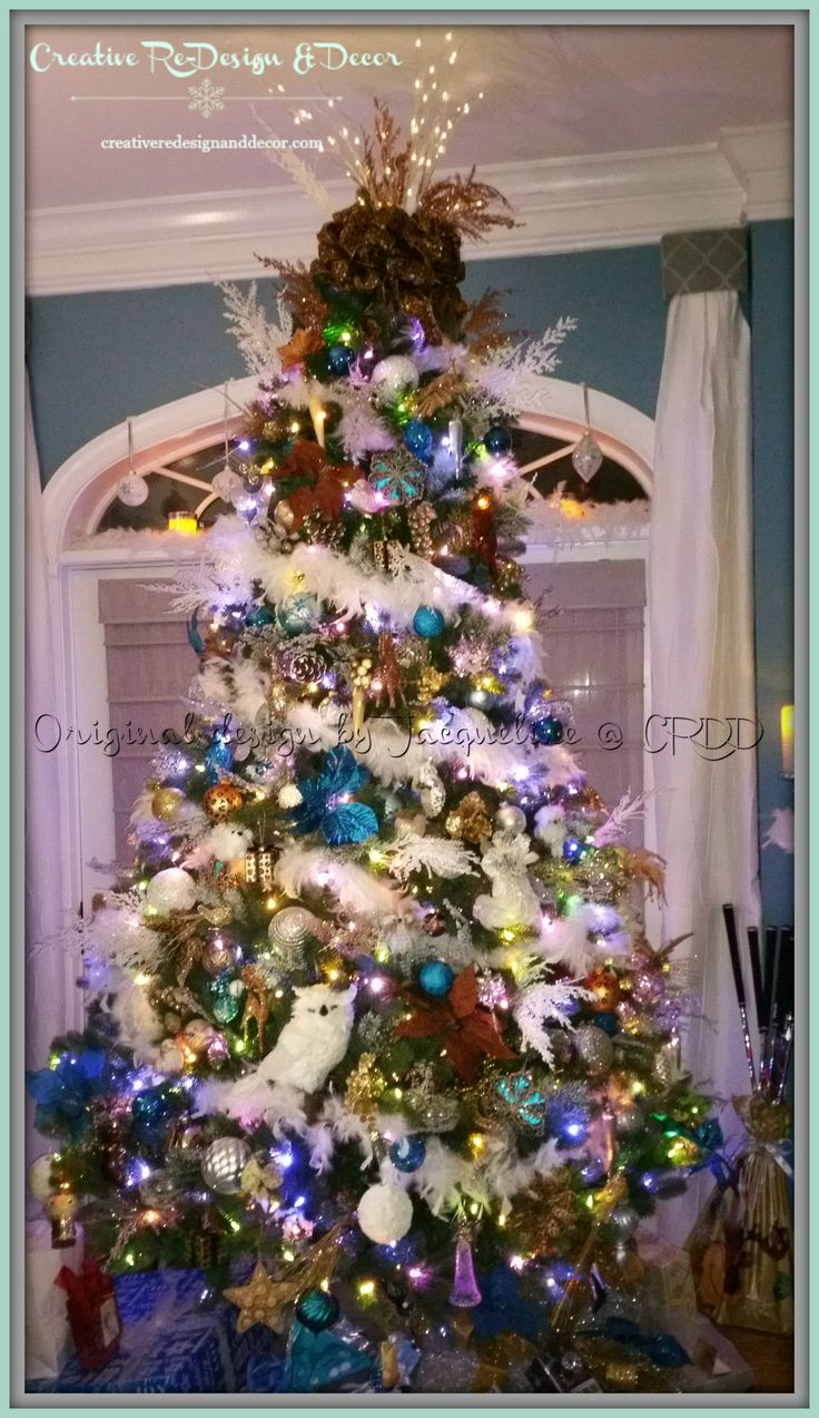 blue gold copper and cream decorations on a 9 foot christmas tree - 9 Ft Christmas Tree