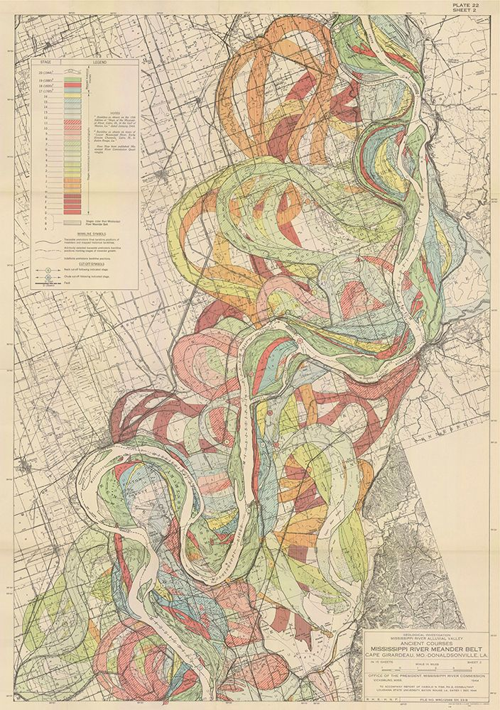 mapsdesign:  Mississippi River flooding over time, by Harold N. Fisk, 1944.