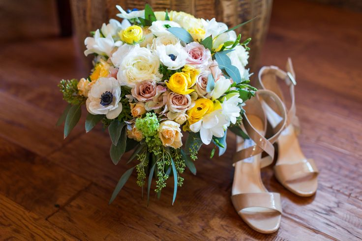 Jessica + Sean   San Luis Obispo, Ca Greengate wedding, A Lovely Creative, Jimmy Choo, shoes, flowers, yellow, pink, white, heels   photography: Cameron Ingalls