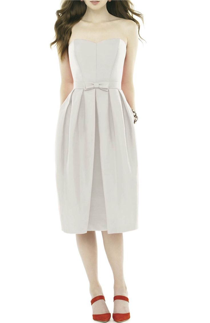 Main Image - Alfred Sung Strapless Peau de Soie Midi Dress with Bow Belt