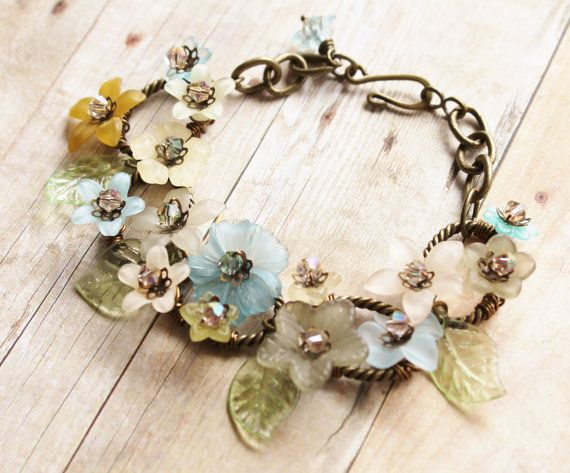 Vintage lucite bracelet vintage lucite flowers in muted for Repurposed vintage jewelry designers