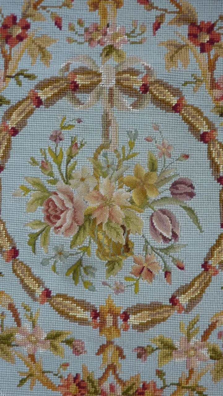 Needlepoint Pillow Decoration Perhaps Crossword : Delicious vintage French needlepoint tapestry stool seat panel flowers Embroidery: Needlepoint ...