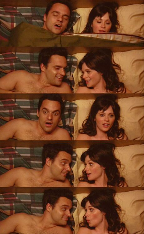 [Nick and Jess chuckling.] Jess: Boy. Nick: Oh, boy. Jess: Rut-roh!